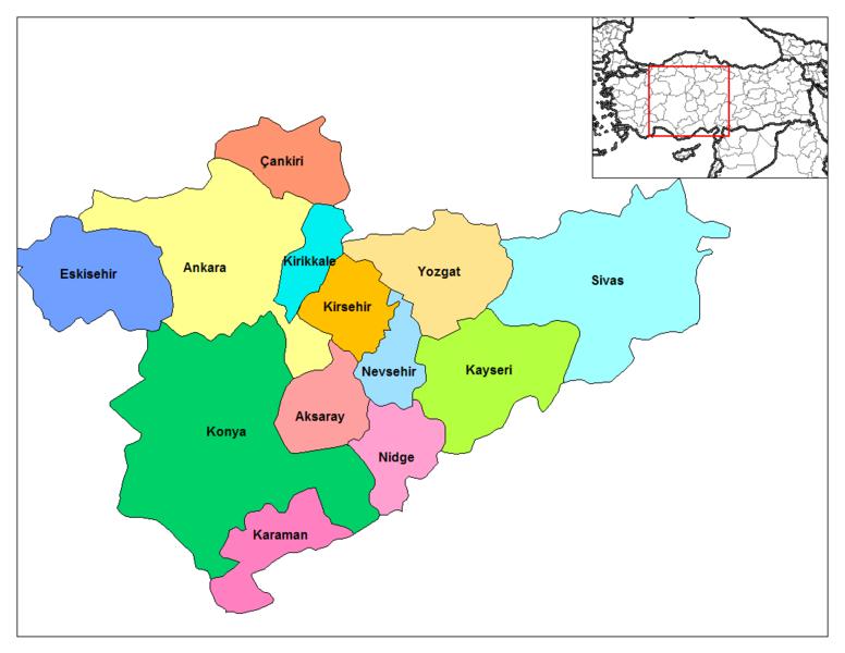 Iç anadolu bölgesi iller haritası